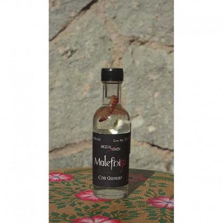 Mezcal con Gusano 40º destilado en Alambique de Cobre, 50 ml